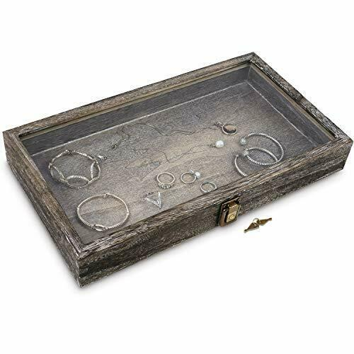 Natural Wood Glass Top Jewelry Display Case Accessories Storage Box with Metal $25.15