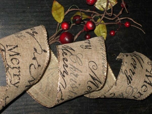 5 Yds. Christmas Script WIRED LINEN BURLAP RIBBON Wreath TREE Topper cr