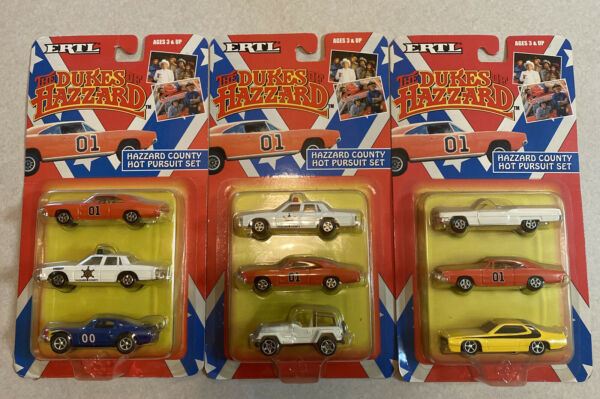 ERTL DUKES OF HAZZARD 3 CAR SET Hot Pursuit General Lee Vintage Rare Item 7068 $150.00