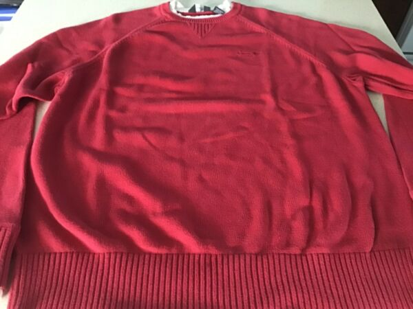 Men's red Sean John 100% cotton pullover crewneck sweater size XL