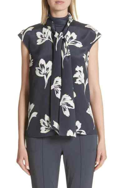 ST. JOHN Falling Flower Print Stretch Silk Top Anthracite Multi XL NEW TAG $495