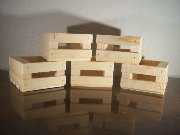 Five Small Handmade Wooden Crates Made From Pine And Left Natural Unfinished