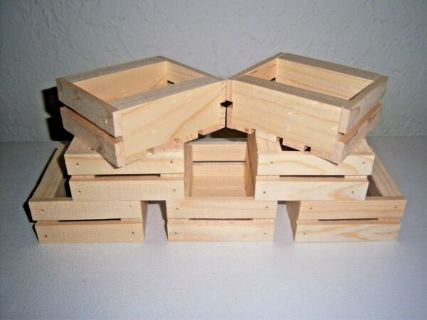 Seven Small Handmade Wooden Crates Made From Pine And Left Natural Unfinished