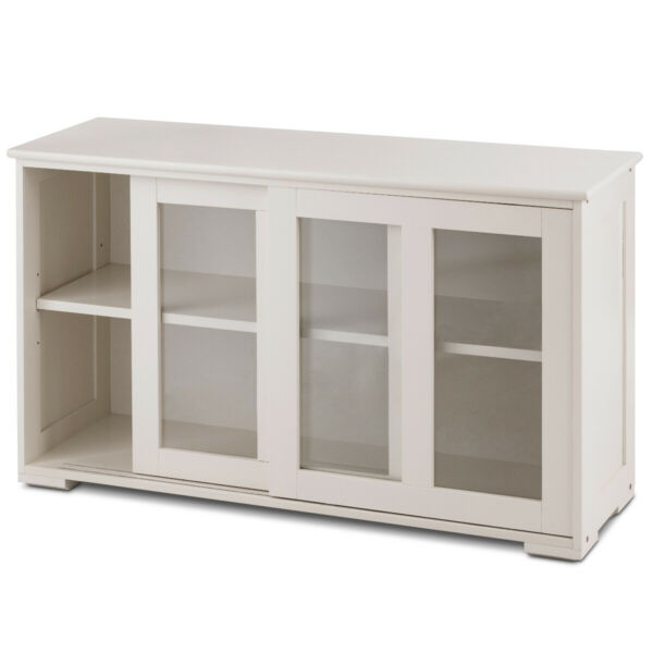 Kitchen Storage Cabinet Sideboard Simple Buffet Cupboard w Sliding Door Pantry