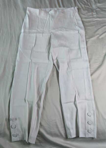 J.Jill Women#x27;s Linen Stretch Button Hem Ankle Pants SV3 Zinc White Medium NWT $25.49
