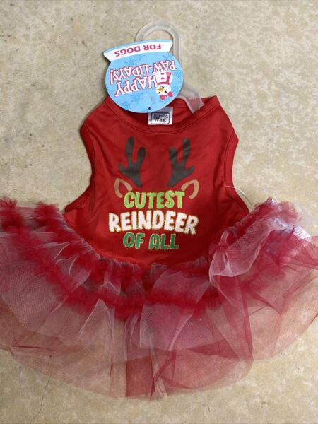 SIMPLY WAG RED quot;CUTEST REINDEER OF ALLquot; CHRISTMAS DRESS Puppy Dog SMALL NWT $16.50