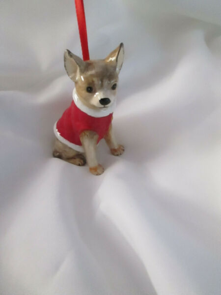 3 1 4quot; Ceramic Chihuahua Dog Christmas Ornament w. Red Coat New $12.99