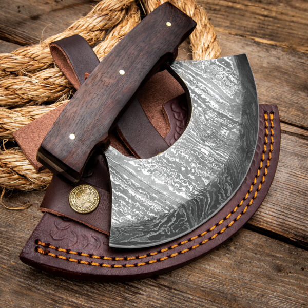 Timber Wolf Damascus Alaskan Ulu Wood Kitchen Skinner Fixed Blade Knife Sheath