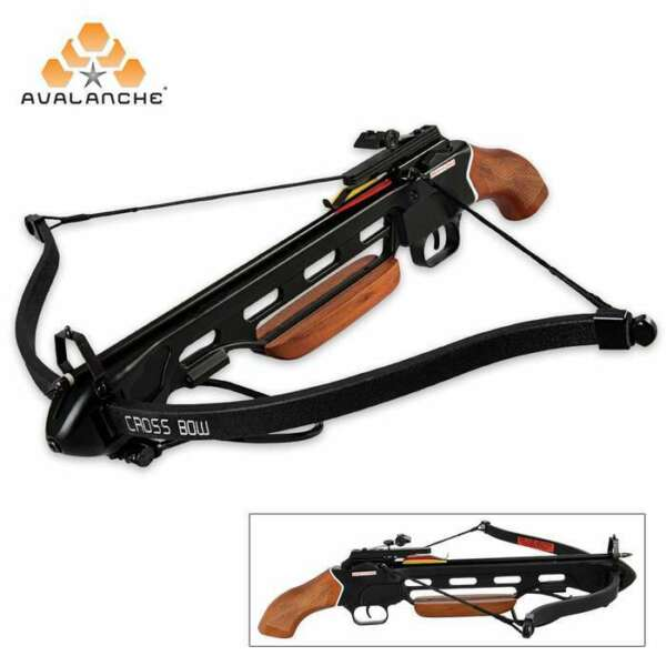 150 lb Avalanche Pistol Wood Hunting Crossbow Bow Wooden Stock w Arrows Bolts