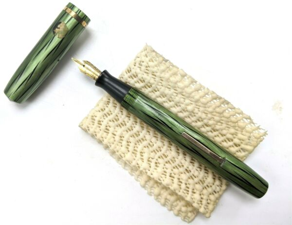 Vintage Wahl Eversharp Green Black Striped Sharp Fountain Pen 14k Nib