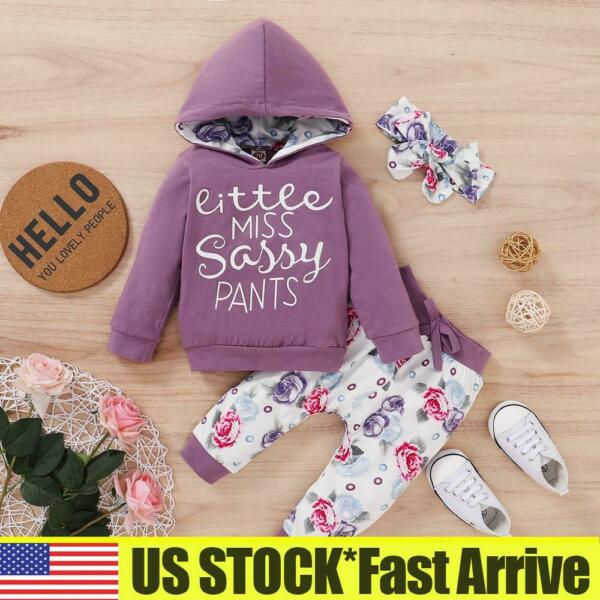Toddler Baby Girls Rose Floral Tracksuit Hoodie Pants Sets 3PCS Outfits Clothes