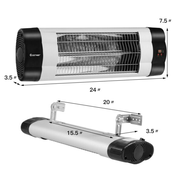 Electric Patio Heater Infrared Wall Mounted Adjustable Outdoor Heater Remote NEW