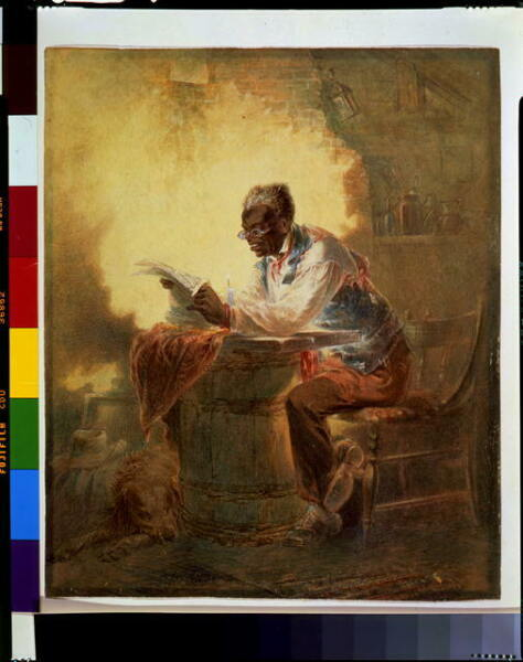 Black man reading newspaper by candlelightc1863Henry Louis StephensDomestic