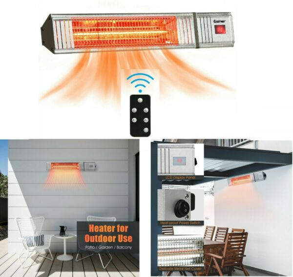 Electric Patio Heater 1500W Infrared Wall Mounted Indoor Outdoor Heater Remote