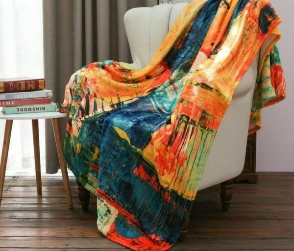 Paint Flannel Sofa Throws Fur Throw Blanket Soft Plush Colorful Warm Quilt Bed
