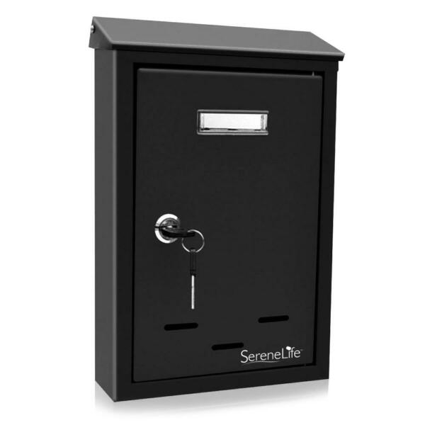 SereneLife Indoor Outdoor Metal Mount Secure Locking Mailbox Black Open Box