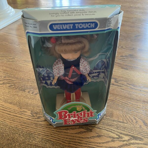 1989 Bright Eyes Velvet Touch Merry Holiday Dolls Vintage New Christmas 8""