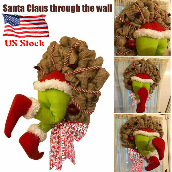 Cute Grinch Stole Christmas Burlap Wreath Garland Home Door Decor Great Gifts US