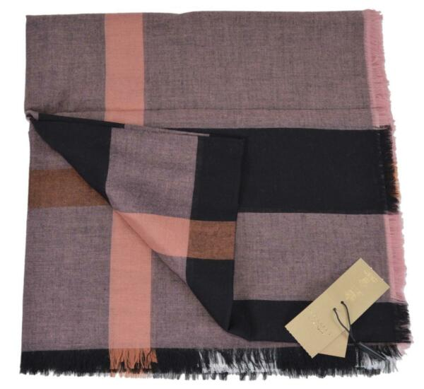 New Burberry Women#x27;s Modal and Wool Antique Rose Lightweight Nova Check Scarf $247.50
