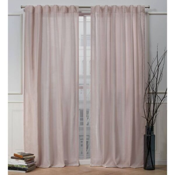 2pk NICOLE MILLER Faux Linen Slub Back Tab Window Curtains 54quot; x 96quot; Blush 🆕