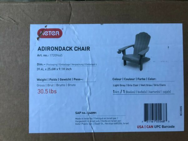 2 KETER Alpine Adirondack Resin Outdoor Furniture Patio Chairs with Cup Holder $269.99