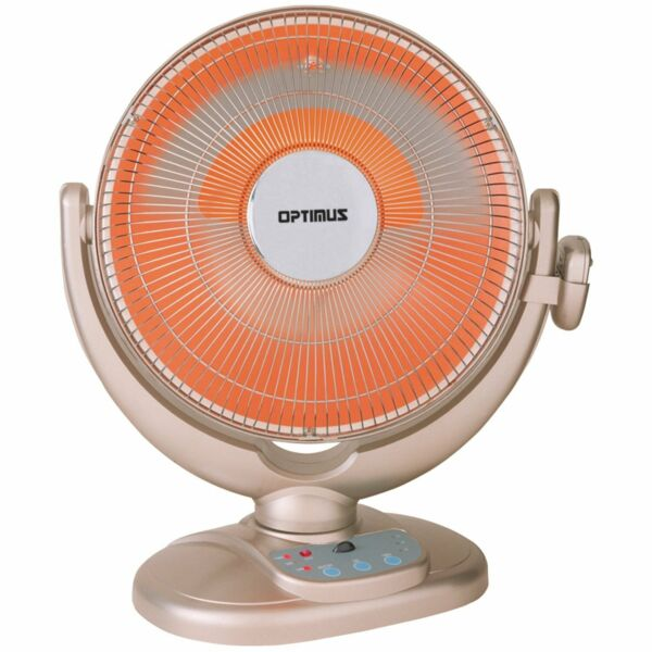 New Optimus 2 Speed Oscillating 14quot; Dish Radiant Heat Heater Thermostat amp; Remote $139.95