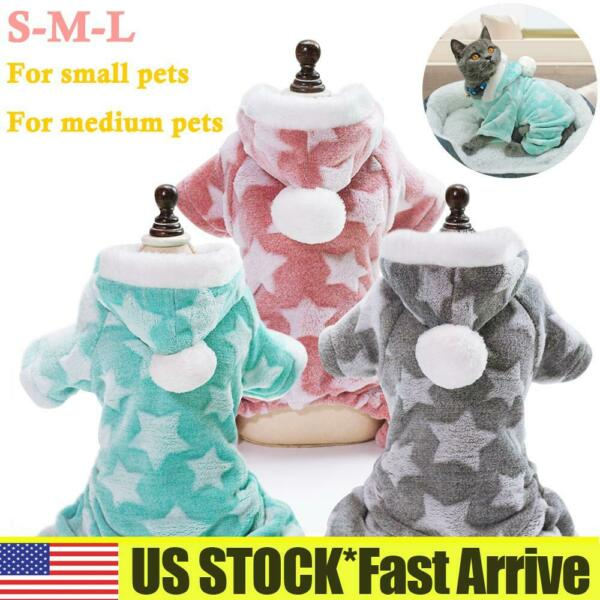 Pet Dogs Cats Winter Warm Hooded Hats Coat Jumpsuit Pajamas PJS Puppy Clothes US $10.19