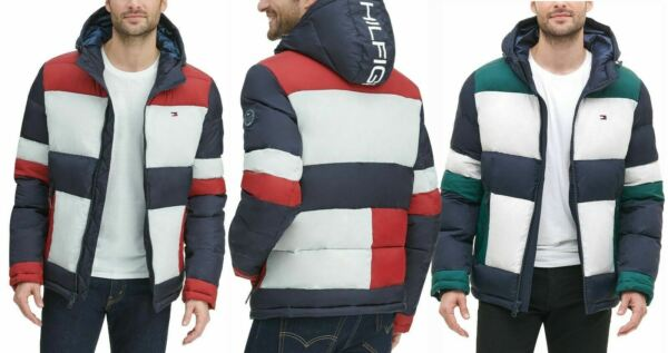 Tommy Hilfiger Men#x27;s Quilted Puffer Colorblocked Hooded Heavyweight Jacket $119.00