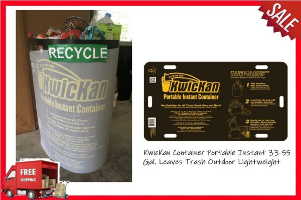 KwicKan Container Portable Instant 33 55 Gal. Leaves Trash Outdoor Lightweight $25.47