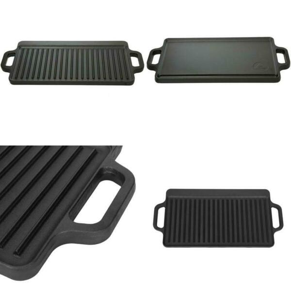Reversible Cast Iron Grill Griddle Pan 17 x 9 Hamburger Steak Stove Top Fry New