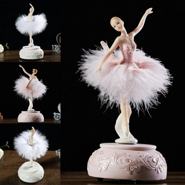 Music Box Girls Dancing Ballerina Swan Lake Carousel with Feather Birthday Gift