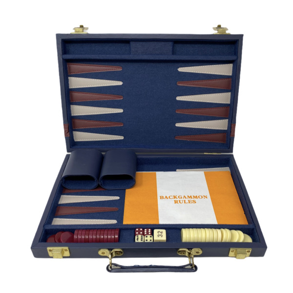 Backgammon Navy Briefcase Set Faux Leather Red Cream 15.5 x 12
