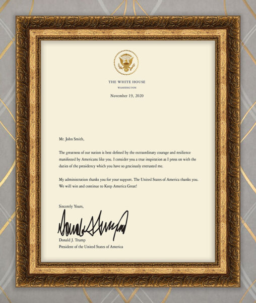Personalized Printed President Donald Trump Signed Letter GREAT GIFT $14.99