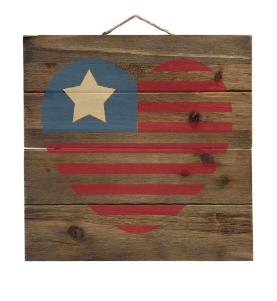 USA Heart Seal Single Start Flag Decorative WOOD Wall Art