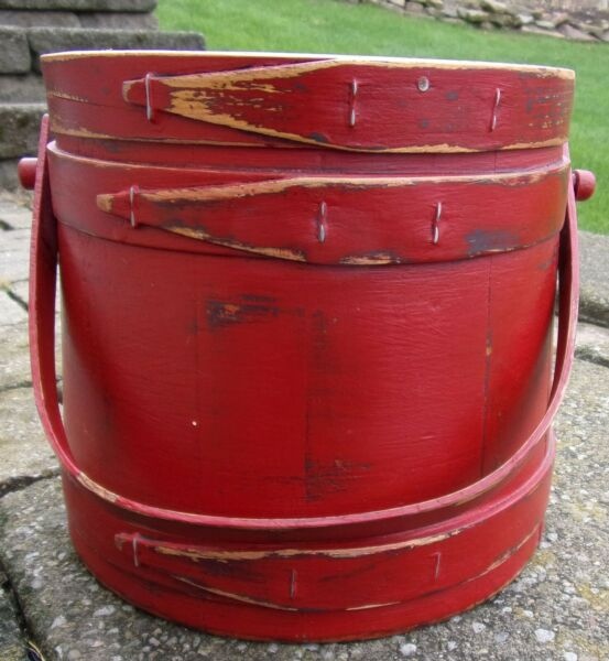 7 3 8quot; Firkin Wood Sugar Bucket Shaker Pantry Box RED BLK Paint Primitive NICE