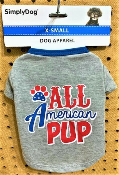 SIMPLYDOG PATRIOTIC Dog Puppy Gray All American Pup SS Shirt Size XS $6.99