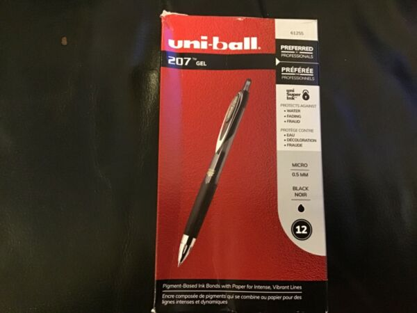 Uni Ball Point Black Ink 12 Count 1790895 Signo 207 Retractable Gel Pen Bold