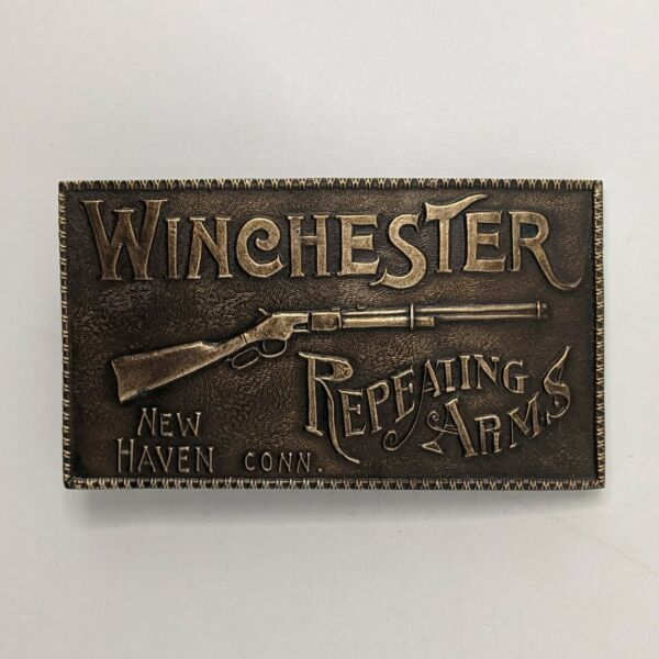 Vintage Belt Buckle Winchester Repeating Arms New Haven Connecticut Rifles A 156