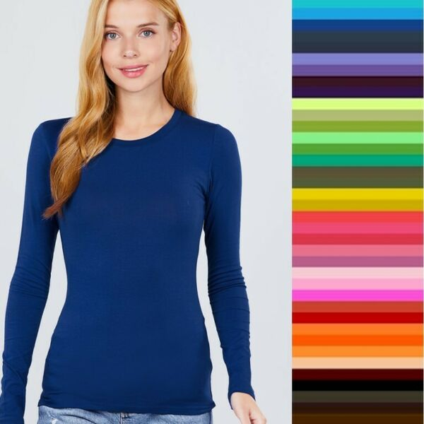 Womans T Shirt Crew Long Sleeve Light Weight Active Basic Stretch Top S M L