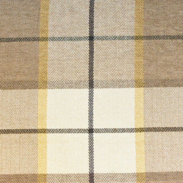 SAMPLE OF 54quot; Wide Drapery Upholstery Plaid Chenille Fabric Natural