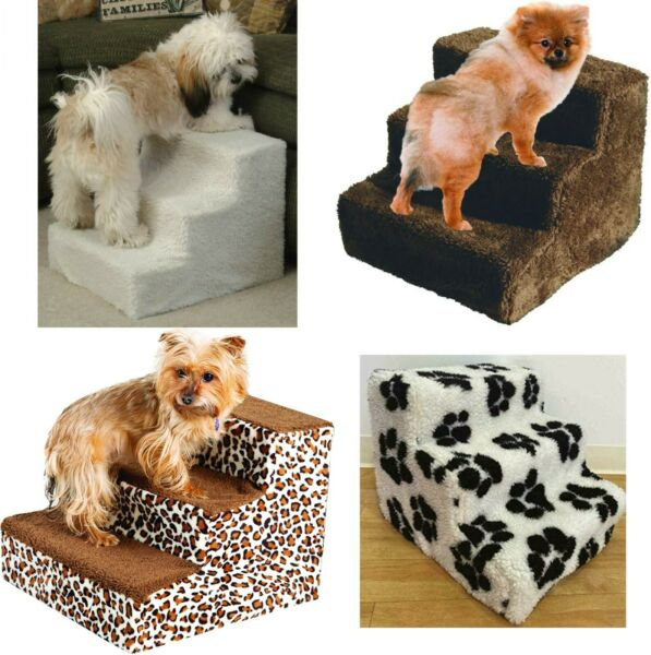Pet Stairs Dog Steps 3 Step Ladder Fleece Covered Staircase Indoor Ramp Kitten