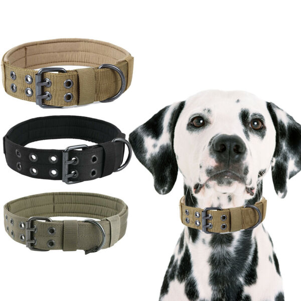 Tactical heavy duty Nylon large Dog Collar collar K9 Military with Metal Buckle $9.39