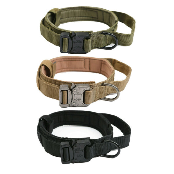 Tactical Military Dog Collar Training w Handle Heavy Duty For Large Dog Collar $10.49