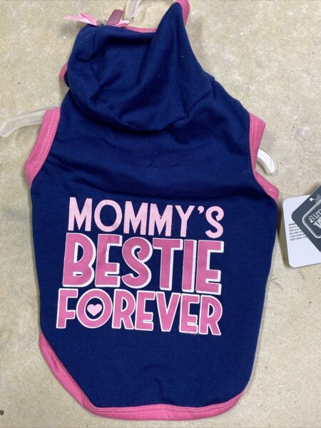 SIMPLY WAG Navy quot;MOMMY#x27;S BESTIE FOREVERquot; Hoodie Puppy Dog small $16.50