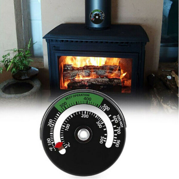 Magnetic Wood Stove Thermometer Heat Powered Temperature Gauge For Log Burning $7.87
