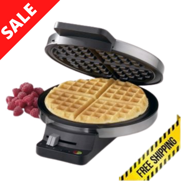 Waffle Maker Brushed Stainless Round Classic Electric Breakfast Snacks Cooker