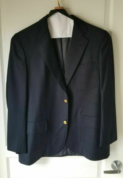 SOUTHWICK Mens Navy Blazer 40R Wool Flannel Brass Buttons Made in USA 3 2 Roll $85.00