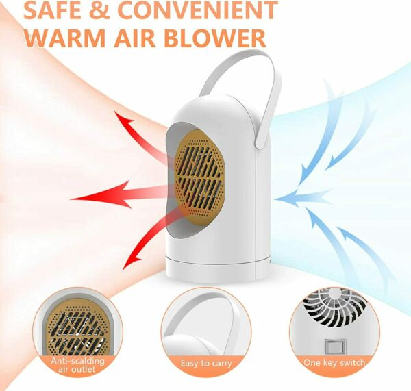 Desk Space Portable Electric Heater Adjustable Thermostat Timer Quiet Fan Home $14.99