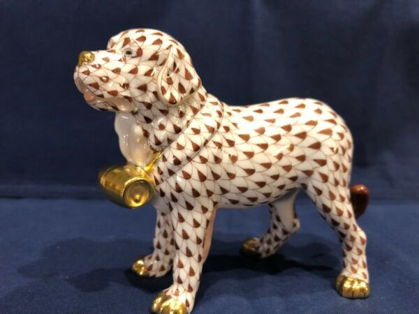 Herend Dog St. Bernard w Puncheon Chocolate Brown Fishnet $265.00