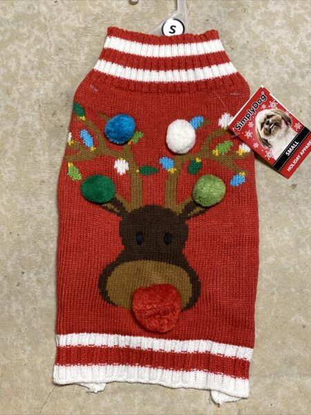 Simply Wag CHRISTMAS RED quot;REINDEERquot; SWEATER Puppy Dog small $14.50